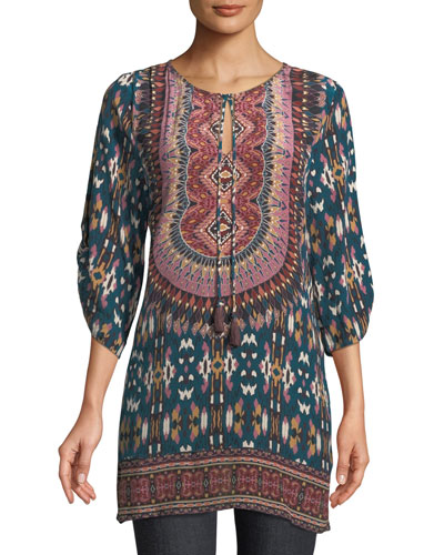 Krisanne Tassel-Neck Ruched-Sleeve Batik-Print Silk Tunic, Plus Size