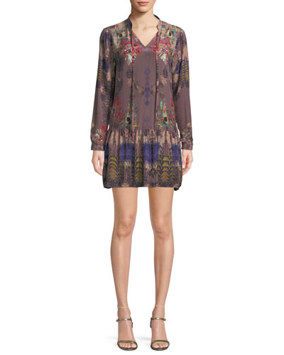 Rory V-Neck Mixed-Print Flounce-Hem Floral-Print Silk Tunic Dress, Plus Size