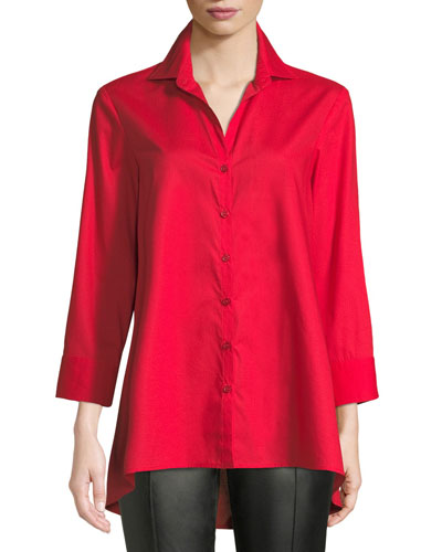 3/4-Sleeve Button-Front Easy-Fit Swing-Shape Cotton Blouse