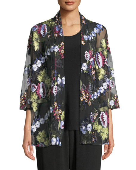 Leading Lady Bracelet-Sleeve Floral-Embroidered Mesh Cardigan
