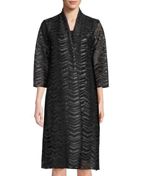 Chevron Faux-Leather Applique Duster Jacket, Plus Size