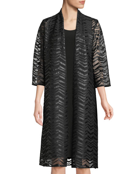 Caroline Rose Chevron Faux-Leather Applique Duster Jacket, Plus