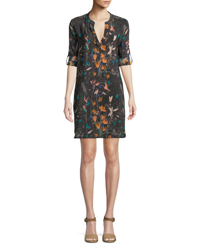 Skyler Roll-Sleeve Floral-Print Silk Long Tunic Dress, Plus Size