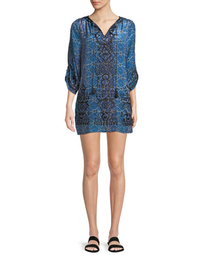 Kiki Tassel-Neck 3/4-Sleeve Shibori-Print Tunic Dress, Plus Size