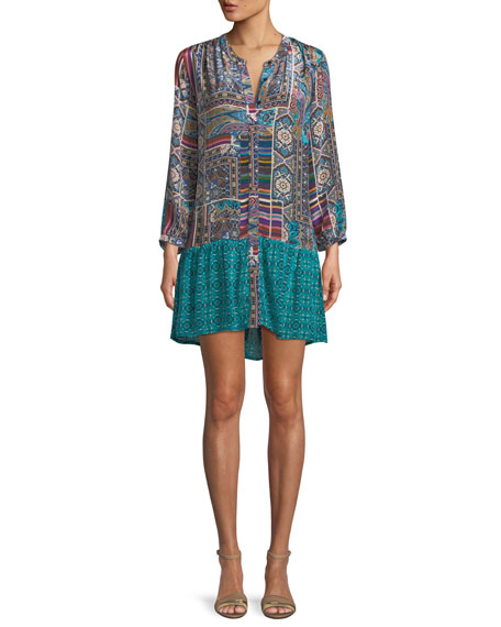 TOLANI Alex V-Neck Button-Front Mixed-Print Tunic Dress, Plus Size in Teal Multi