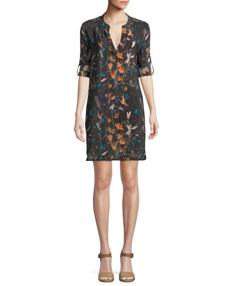 TOLANI Skyler Roll-Sleeve Floral-Print Silk Long Tunic Dress, Plus Size in Raven