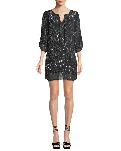 Saida Ruched 3/4-Sleeve Sequined Tunic Dress, Plus Size