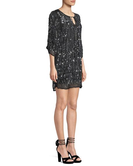 Saida Ruched 3/4-Sleeve Sequined Tunic Dress