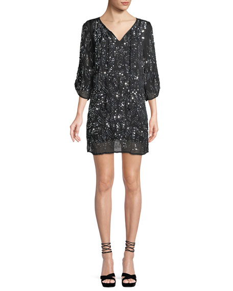 Saida Ruched 3/4-Sleeve Sequined Tunic Dress