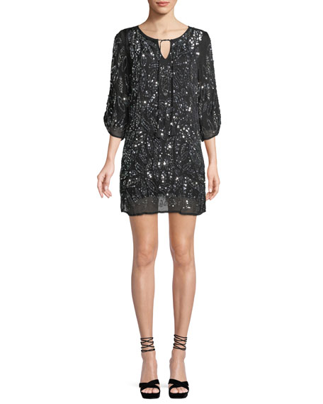TOLANI Saida Ruched 3/4-Sleeve Sequined Tunic Dress in Black