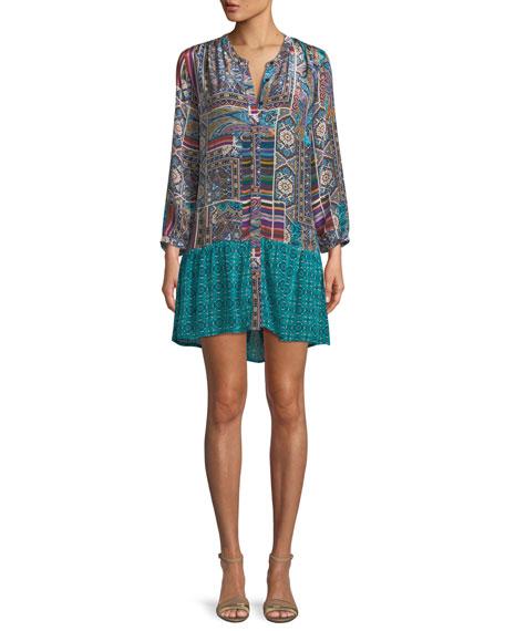 TOLANI ALEX V-NECK BUTTON-FRONT MIXED-PRINT TUNIC DRESS