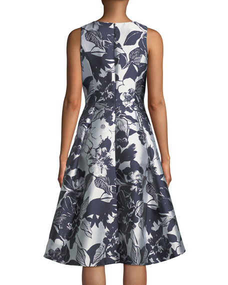 Coraline Fit-&-Flare Dress in Metallic Floral Print