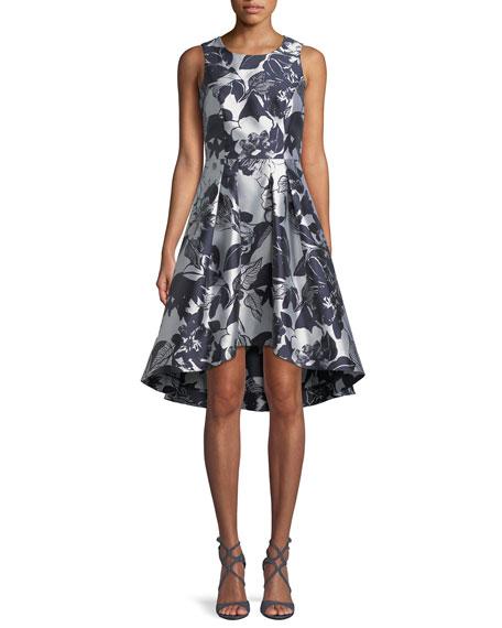 Shoshanna Coraline Fit-&-Flare Dress in Metallic Floral Print