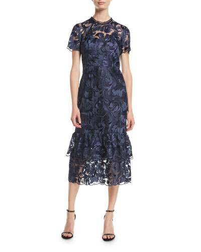 Treya Tulle Cocktail Dress w/ Midnight Leaf Embroidery