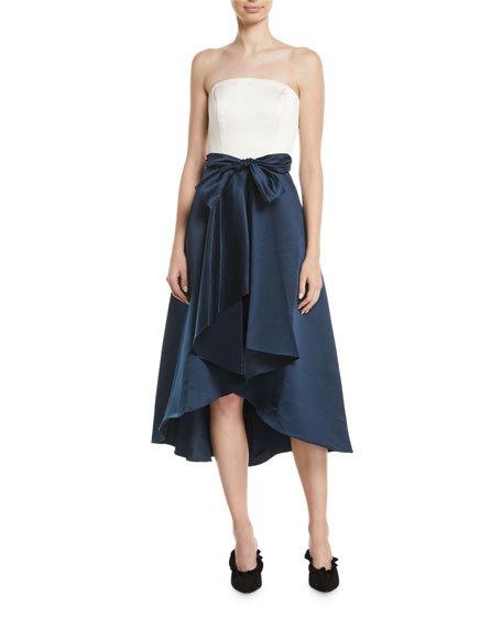 Allene Strapless High-Low Gown w/ Bow Waistline