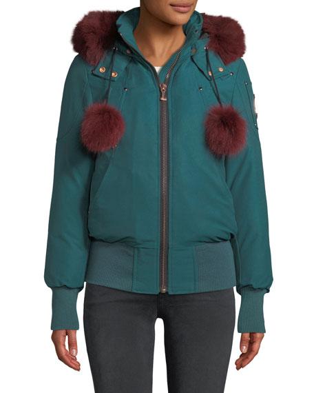 Yorkdale Bomber Jacket W/ Fur Pompoms & Detachable Hood in Green