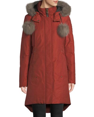 Meighen Parka Coat w/ Fur Hood & Pompoms