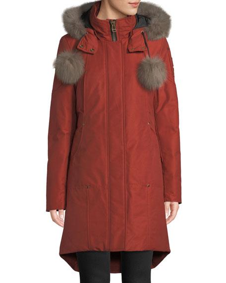 Meighen Parka Coat W/ Fur Hood & Pompoms in Red