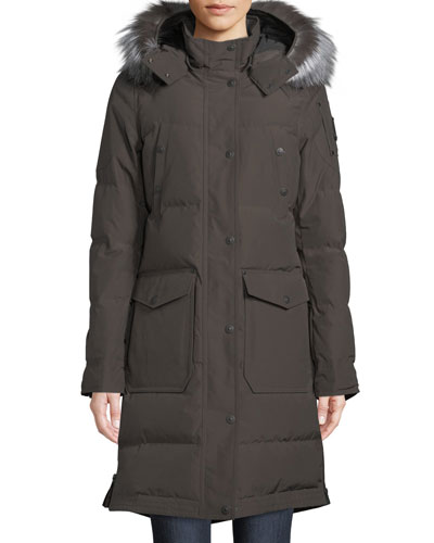 Salmon River Long Parka Coat w/ Removable Fur Hood