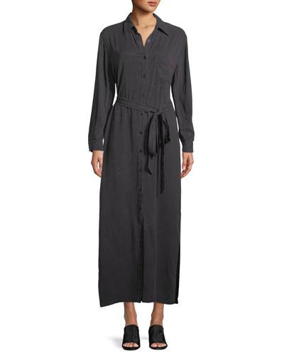 Button-Front Garment-Dye Twill Long Shirtdress w/ Belt