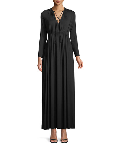 Tatum Tie-Neck Long-Sleeve Long Jersey Dress, Plus Size
