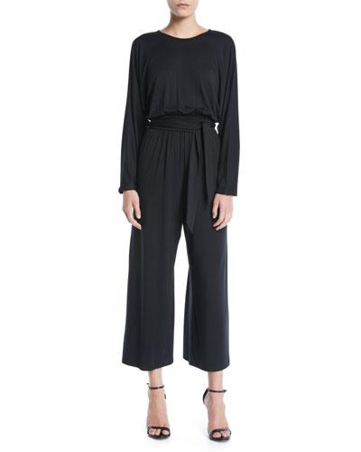 Asta Crewneck Long-Sleeve Belted Wide-Leg Jersey Jumpsuit, Plus Size