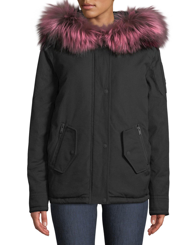 Moose Knuckles Kingscroft Parka Jacket w/ Fur Trim & Hood ...