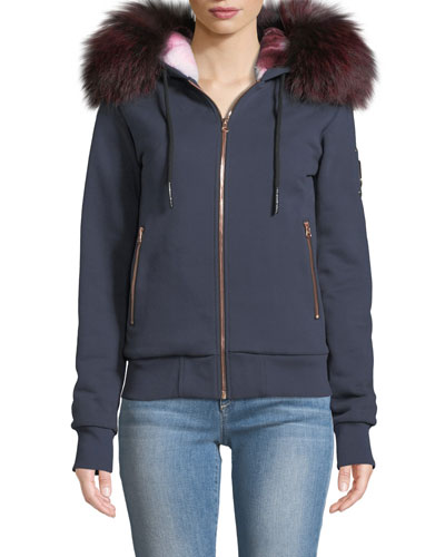 Fancy Bunny Hoodie Sweatshirt Jacket w/ Fur Trim & Hood