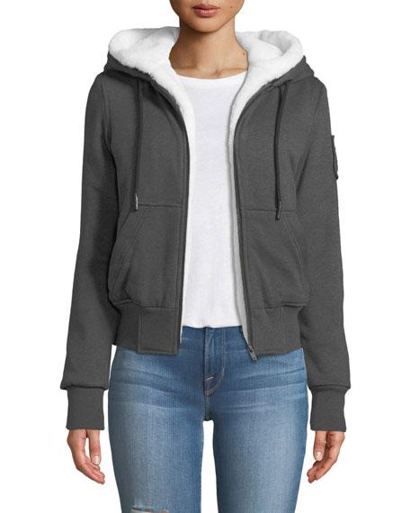 Her Bunny Hoodie Sweatshirt W/ Hood & Faux Fur, Gray/White