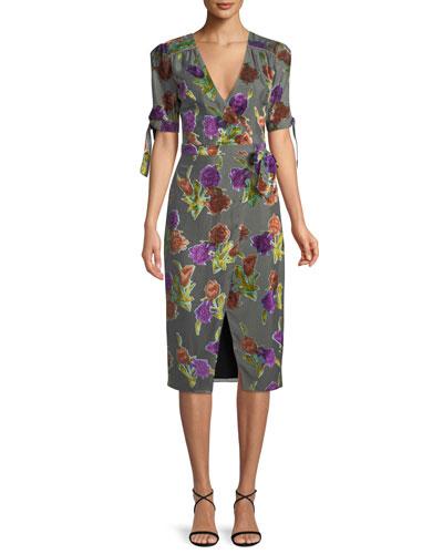 Floral Burnout Velvet Wrap Dress w/ Short Sleeves