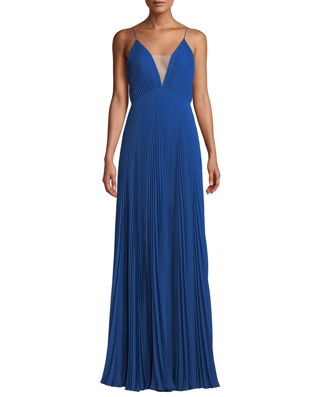 Jill Jill Stuart Veronika Pleated Sleeveless Gown