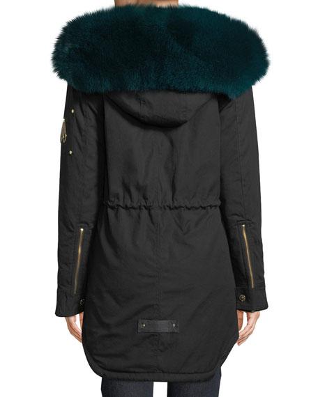 Foxy Stellar Parka Coat w/ Hood & Fur Trim