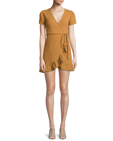 DONNA MIZANI Madison Wrap Dress W/ Ruffle Hem in Yellow