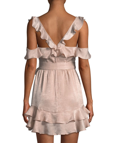 Tatiana V-Neck Ruffles Tie-Belt Mini Dress