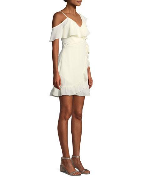Selena V-Neck Faux-Wrap Ruffled Pebbled Georgette Mini Dress