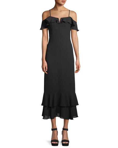 Donna Mizani Siren Cold-Shoulder Sheath Midi Crepe Dress