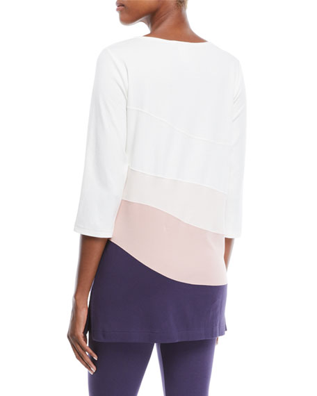 Ballet-Neck 3/4-Sleeve Colorblock Tunic w/ Sequin Detail