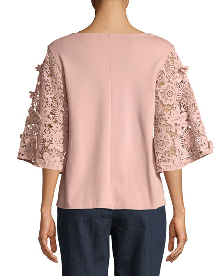 Bateau-Neck Lace-Sleeve Knit Top
