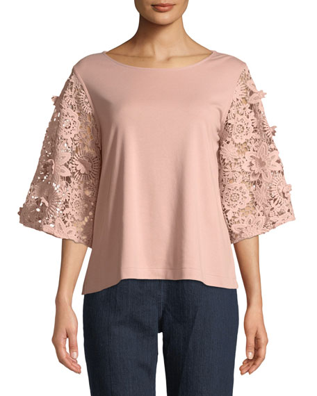 Joan Vass Bateau-Neck Lace Guipure Sleeve Knit Top
