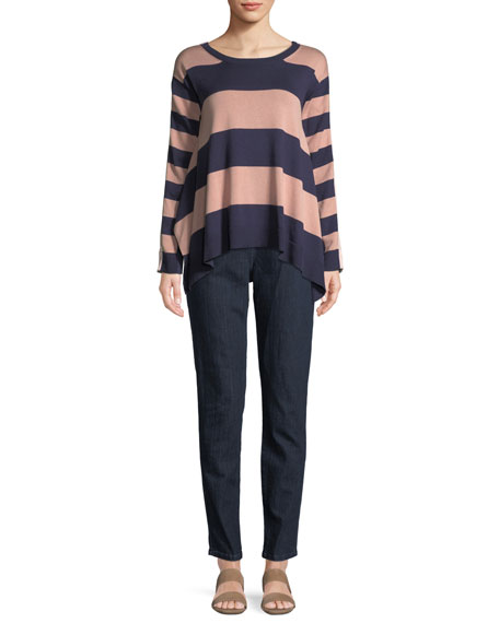 Long-Sleeve Crewneck Relaxed Mixed-Media Stripe Sweater