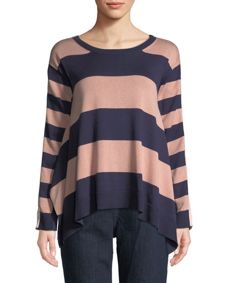 Joan Vass Long-Sleeve Crewneck Relaxed Mixed-Media Sweater and
