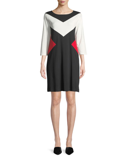 Boat-Neck 3/4-Sleeve Colorblock Cotton A-Line Dress
