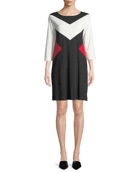 Joan Vass Boat-Neck 3/4-Sleeve Colorblock Cotton A-Line Dress