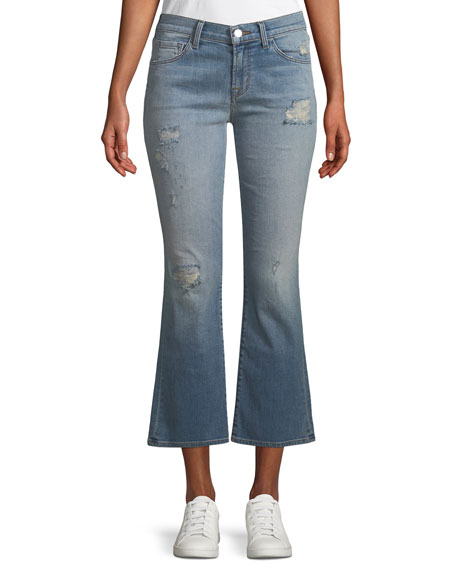 Selena Distressed Cropped Boot-Cut Jeans