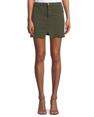 Le Mini Frayed Split-Front Denim Skirt