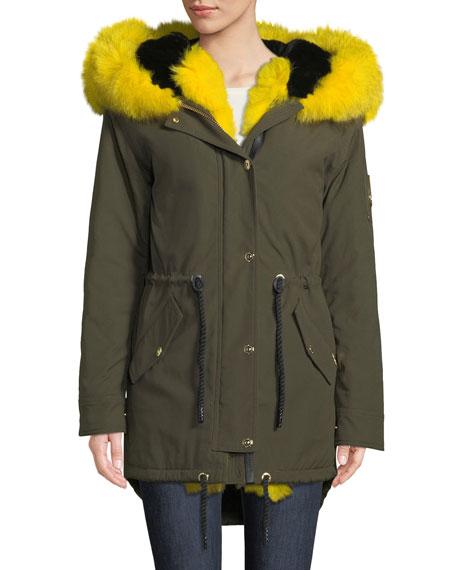 Stellar Long-Sleeve Hooded Canvas Parka Jacket W/ Fur Trim in Green/Yellow