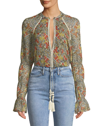 Samera Floral Long-Sleeve V-Neck Top
