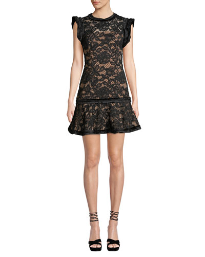 Raffia Flounce Lace Mini Dress