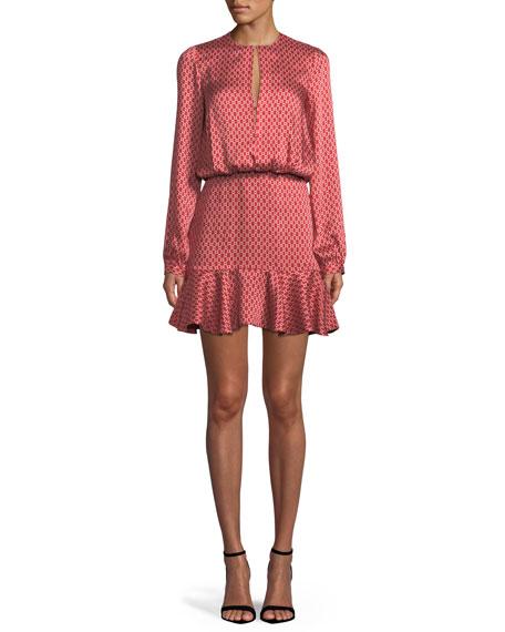 Coretti Printed Flounce Mini Dress, Red Pattern