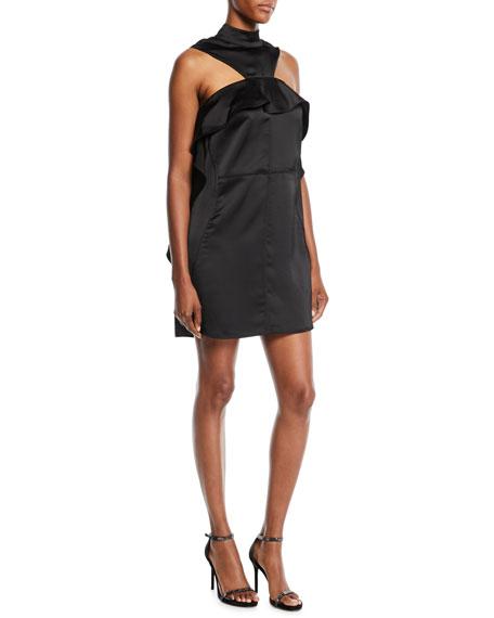 Draped Satin Frill Mini Dress